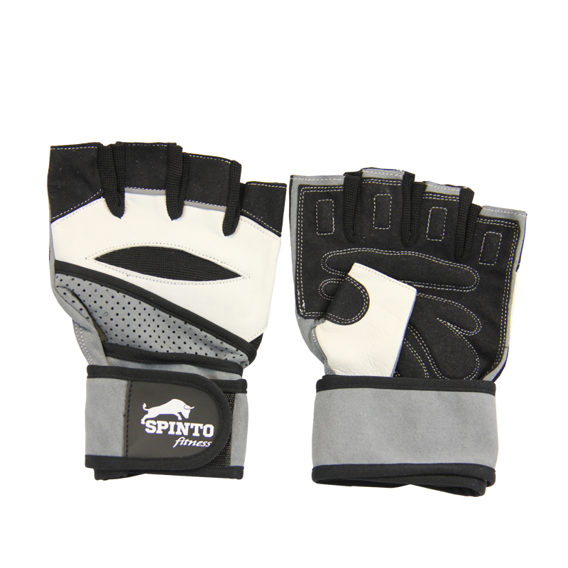 MENS WORKOUT GLOVE W/ WRIST WRAPS 1 PAIR (SPINTO-17B,18R,19W,51B)